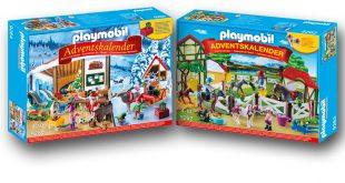 Zwei der drei neuen Playmobil Adventskalender 207: Wichtelwerkstatt und Reiterhof.